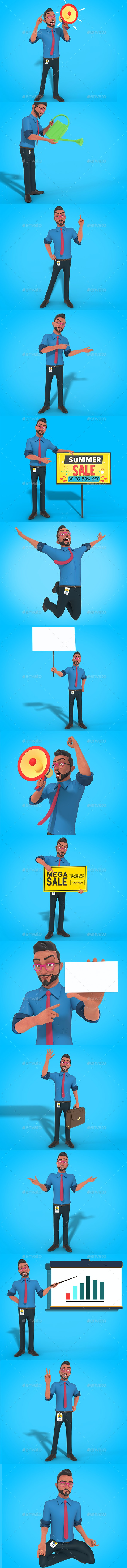 Mr Bob 3D Character Business Mascot Actions Fully Editable Psd - Characters 3D Renders