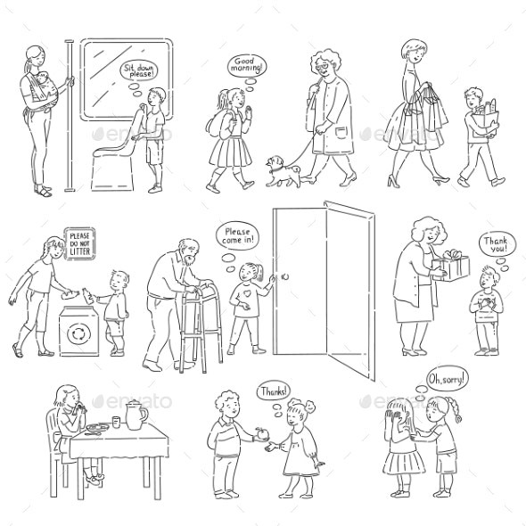 Vector Good Behaviour and Manners of Kids Set - People Characters