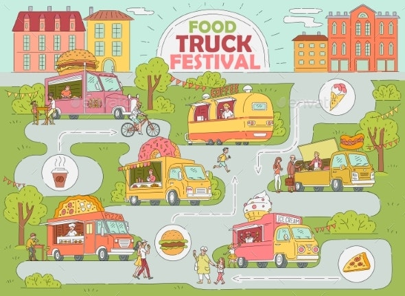Food Truck Festival City Map - Food Objects