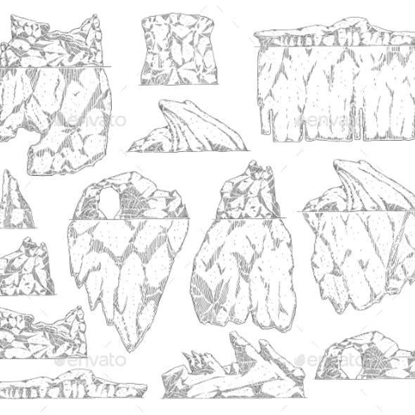 Set of Iceberg Different Shapes Sketch Outline