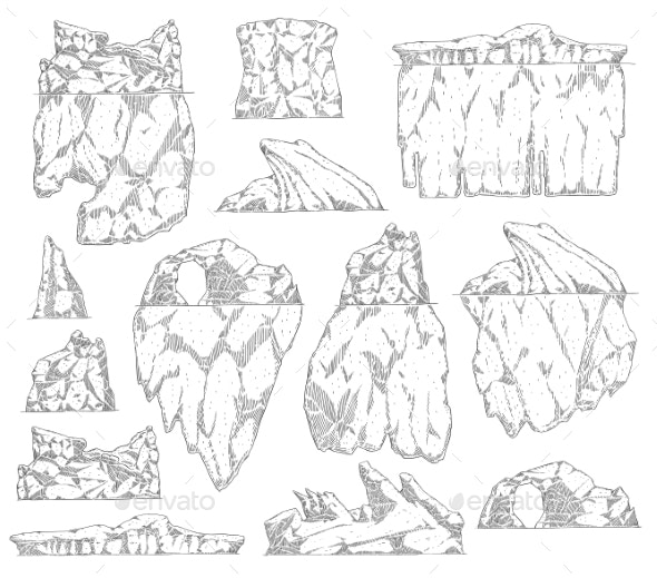 Set of Iceberg Different Shapes Sketch Outline - Miscellaneous Vectors