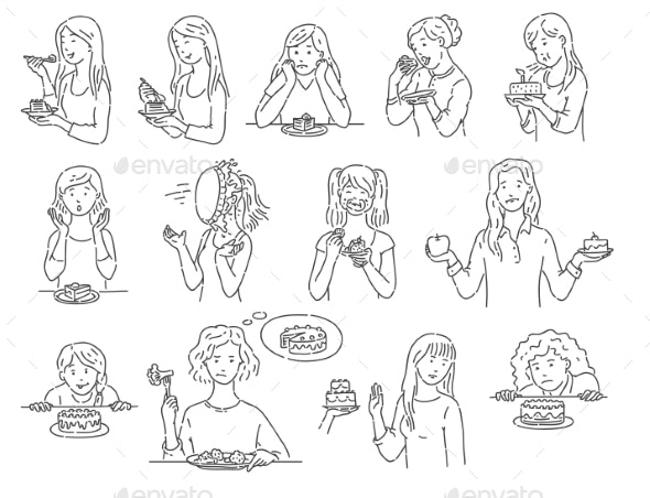 Set of Female Characters with Dessert Cake Outline - People Characters