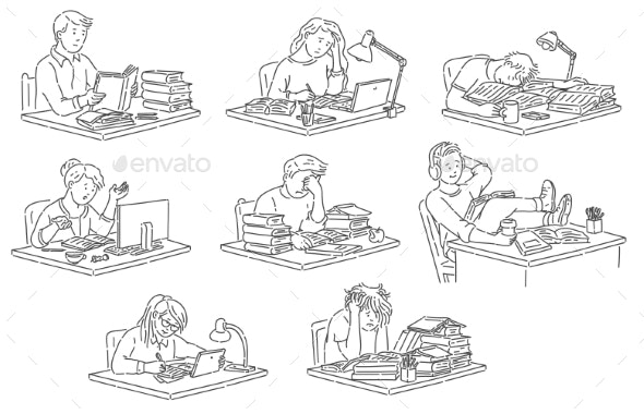 Students Sitting at Table Reading and Studying - Miscellaneous Vectors