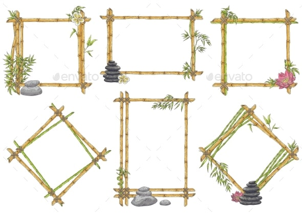 Vector Sketch Bamboo Frame with Zen Pebble Set - Backgrounds Decorative