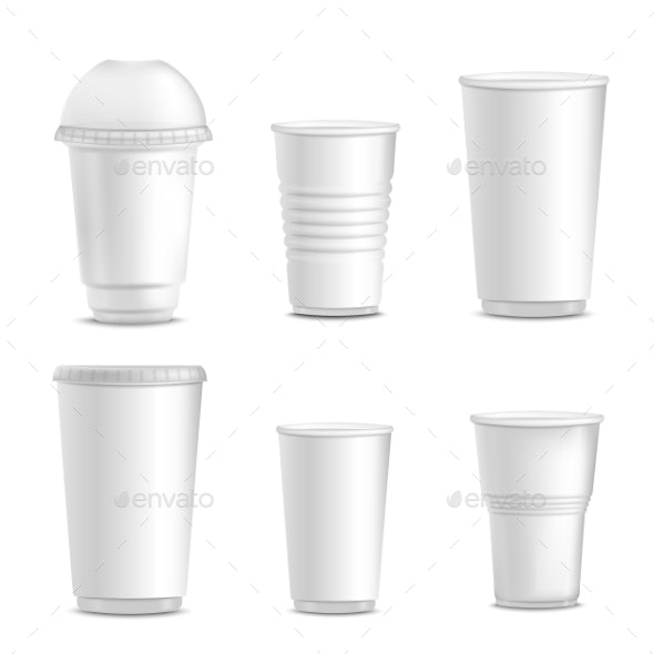 Collection of Blank White Plastic Cup Mockups - Food Objects
