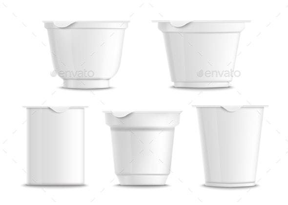 Set of Empty and Blank White Plastic Yogurt - Food Objects