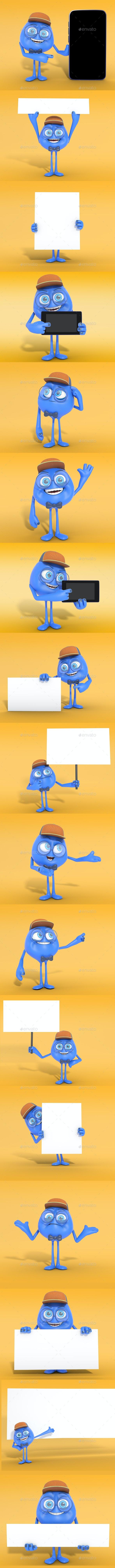 Cute Cartoon 3D Character Mascot Renders PSD - Characters 3D Renders