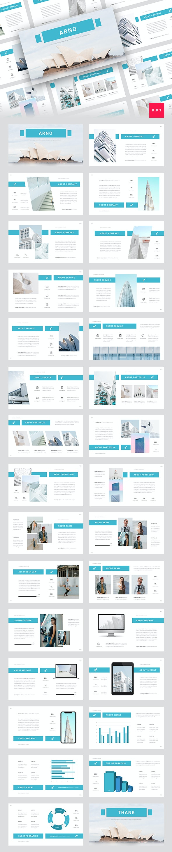 Arno - Architecture PowerPoint Template - Business PowerPoint Templates