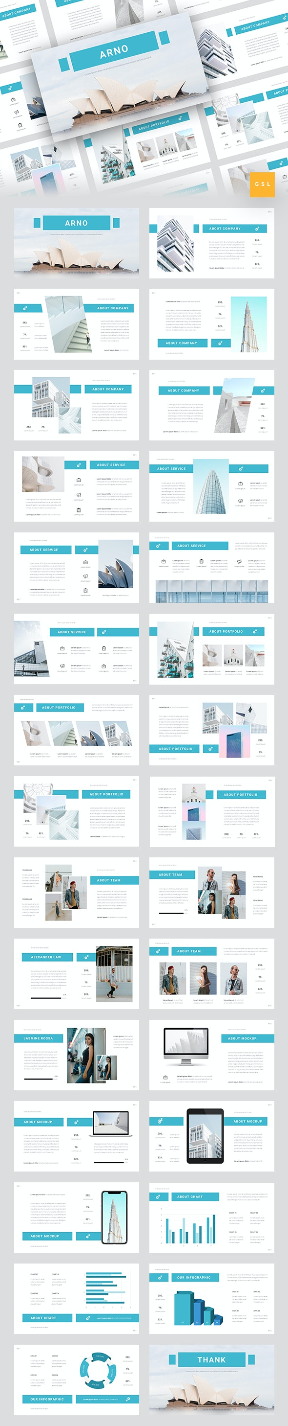 Arno - Architecture Google Slides Template - Google Slides Presentation Templates
