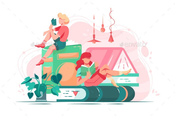 Flat Young Friend Woman with Books in Room - Miscellaneous Vectors