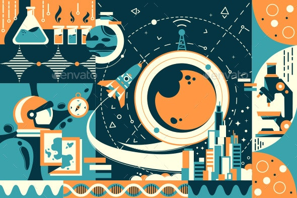 Concept Future and Modern Science City and Space - Retro Technology