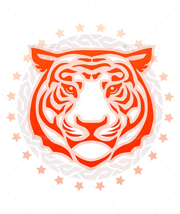 Tiger Head Front View Circular Tattoo - Animals Characters