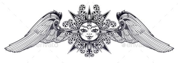 Fantasy Inspired Winged Tribal Sun Star - Decorative Symbols Decorative