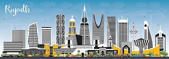 Riyadh Saudi Arabia City Skyline with Color Buildings and Blue Sky. - Buildings Objects