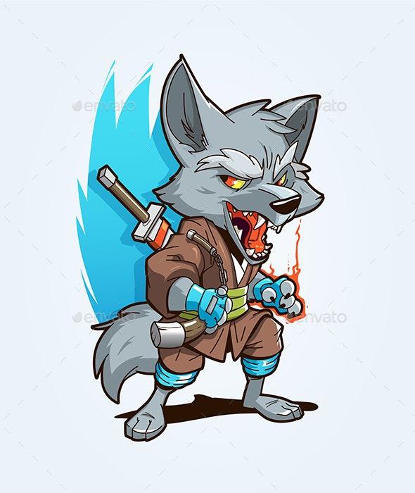 Ninja Wolf Mascot - Animals Characters