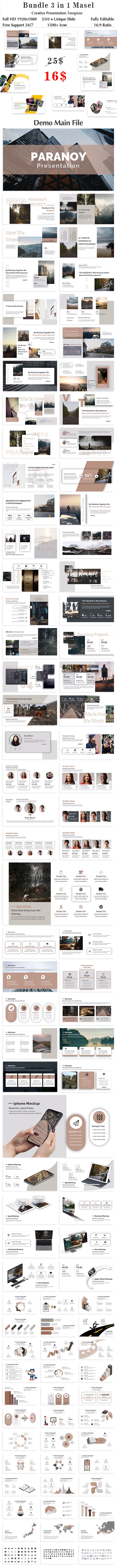 Bundle 3 in 1 Masel Creative Keynote Template - Creative Keynote Templates