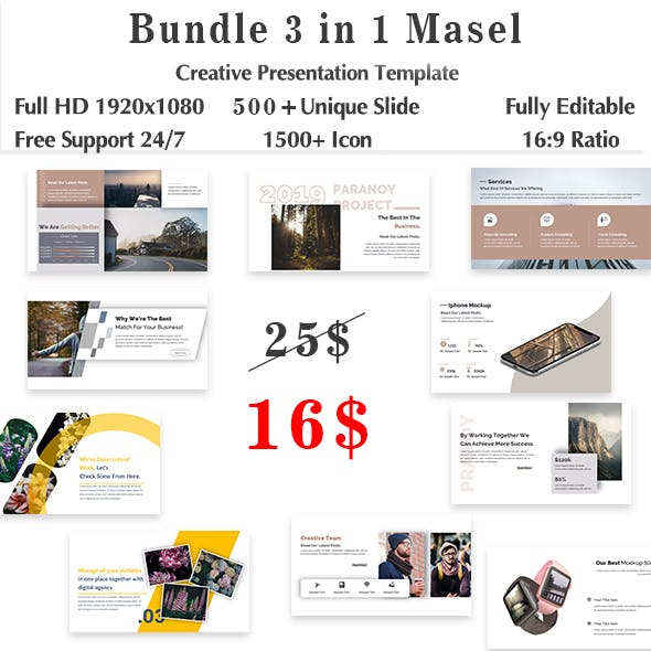 Bundle 3 in 1 Masel Creative Keynote Template