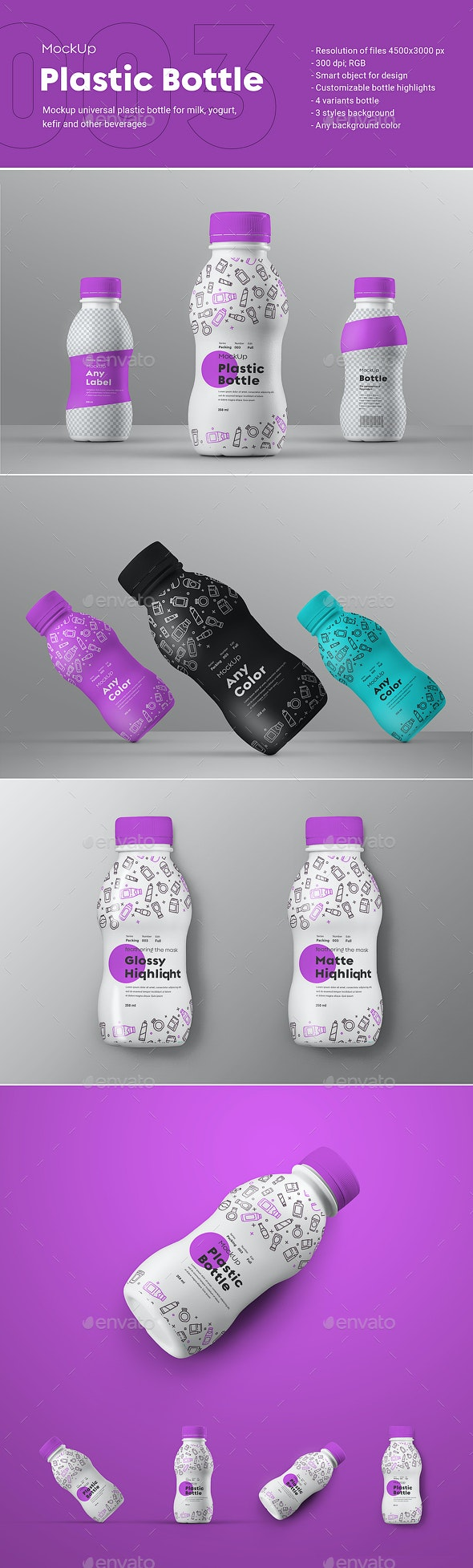 """4 Mock-Ups of a Small Plastic Bottle__Series """"Packing #003"""" - Product Mock-Ups Graphics"""