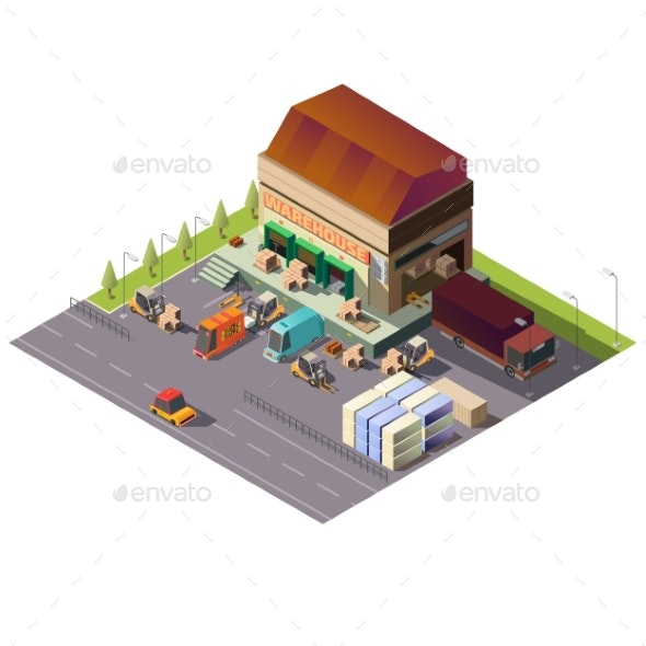 Commercial Warehouse Building Isometric Vector - Buildings Objects