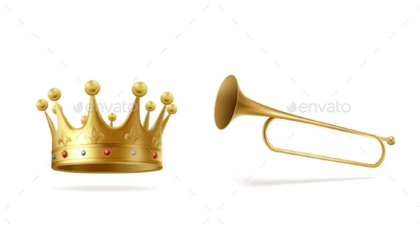 Golden Crown with Gems and Copper Fanfare Isolated - Objects Vectors