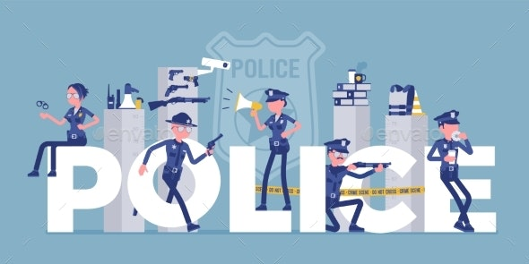 Police Giant Letters with Male, Female Officers - Conceptual Vectors