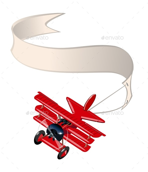 Cartoon Retro Airplane with Banner Isolated - Man-made Objects Objects