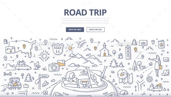 Road Trip Doodle Concept - Travel Conceptual
