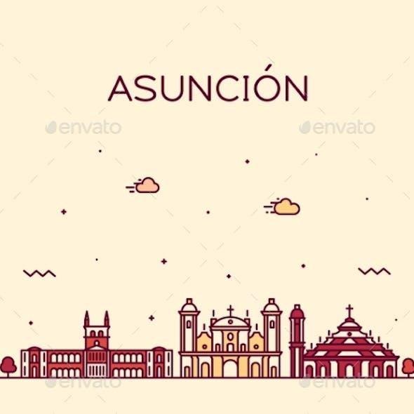 Asuncion Skyline Paraguay Vector City Linear Style