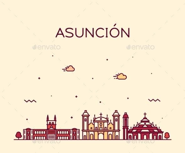Asuncion Skyline Paraguay Vector City Linear Style - Buildings Objects