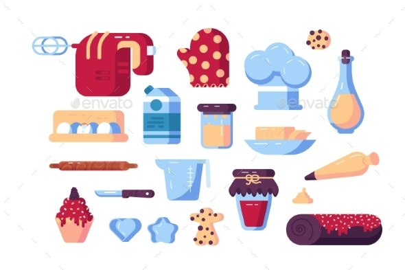 Set of Confectioner Tools and Sweets - Food Objects