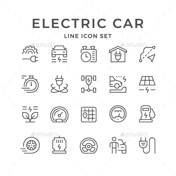 Set Line Icons of Electric Car - Man-made objects Objects