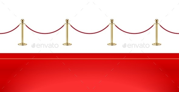 Red Carpet and Golden Barrier with Rope for VIP Presentation - Miscellaneous Vectors