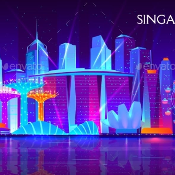Singapore Night Cityscape Neon Vector Background