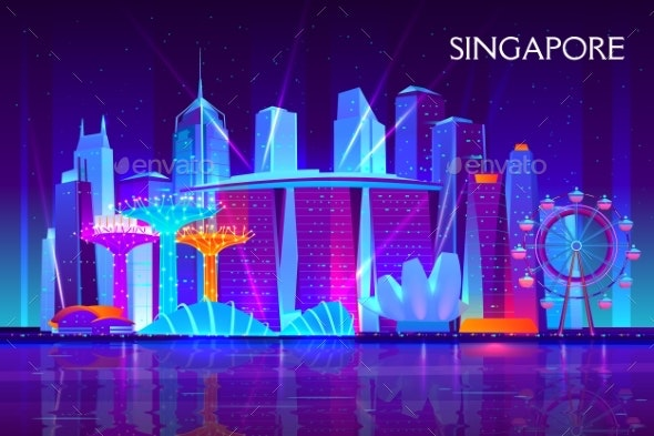 Singapore Night Cityscape Neon Vector Background - Buildings Objects