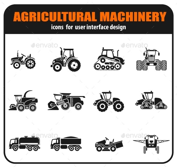 Agricultural Vehicles Icons Set - Man-made Objects Objects