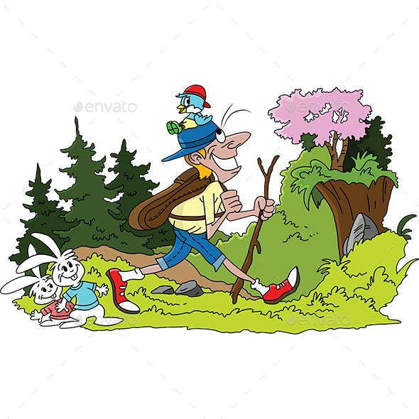 Cartoon Man Hiking in the Forest Vector Illustration - Sports/Activity Conceptual