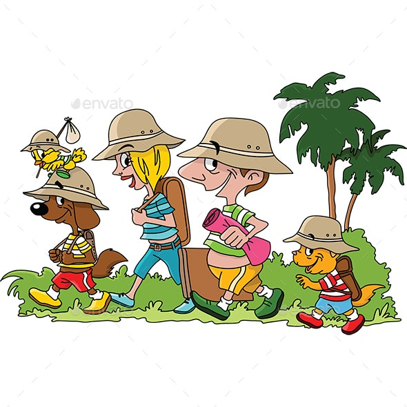 Cartoon Family Going on a Vacation - Travel Conceptual