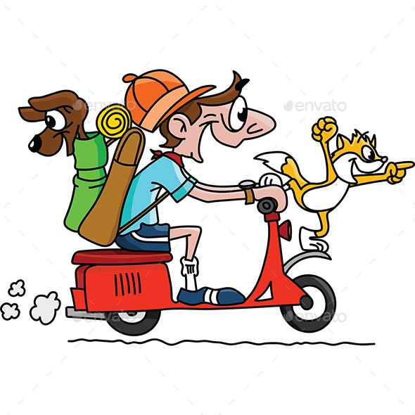 Cartoon Man Traveling on a Motorcycle With His Dog and Cat Vector Illustration - Travel Conceptual
