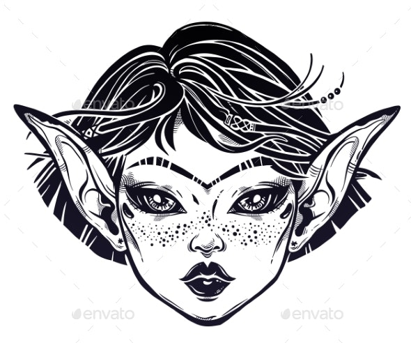 Mystic Girl Young Elf Magic Woman - Monsters Characters