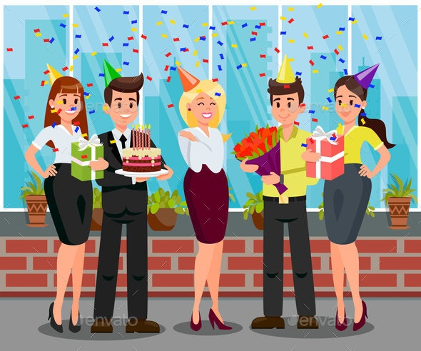 Surprise Birthday Party Flat Vector Illustration - Seasons/Holidays Conceptual