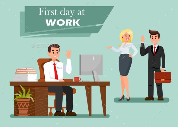 First Day at Work Vector Illustration with Text - People Characters