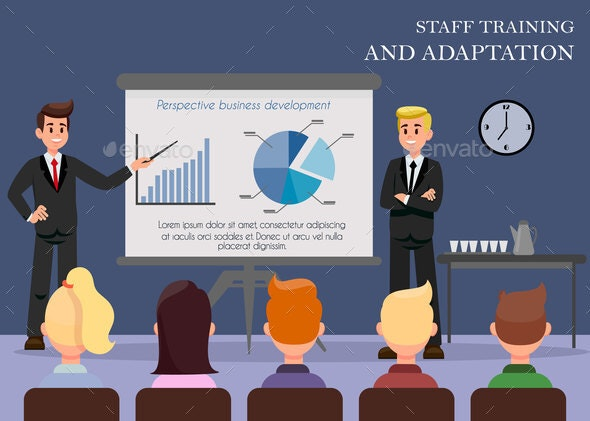 Staff Training Flat Vector Web Banner with Text - People Characters