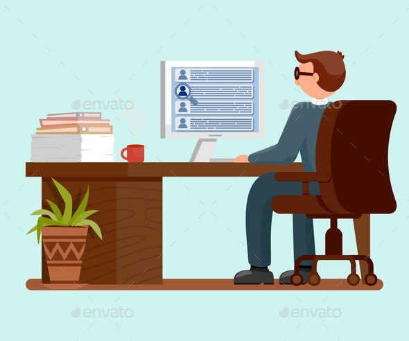 Male Worker dat Workplace Flat Vector Illustration - People Characters