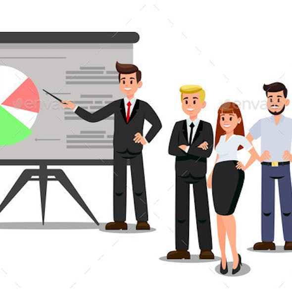 Workers at Business Conference Vector Illustration