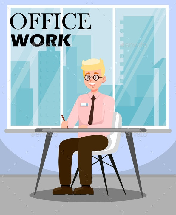 Man Doing Office Work Flat Vector illustration - People Characters
