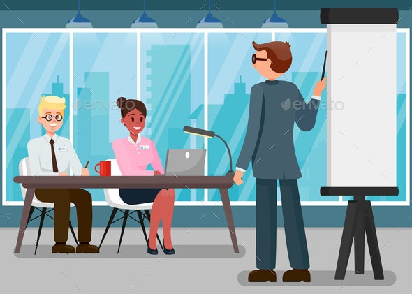 Business Training Flat Vector Color Illustration - People Characters