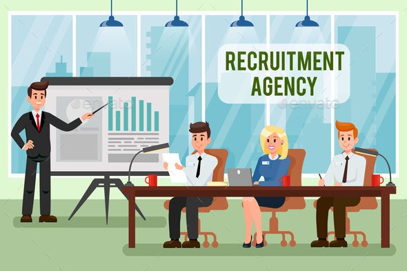 Recruitment Agency Vector Illustration with Text - People Characters