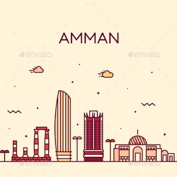 Amman Skyline Jordan Vector Big City Linear Style