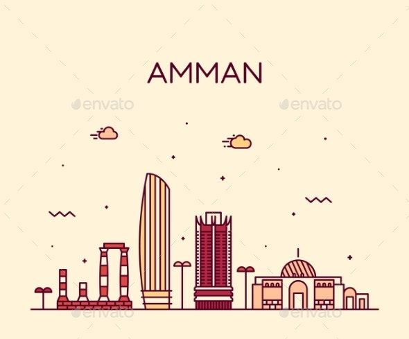 Amman Skyline Jordan Vector Big City Linear Style - Buildings Objects