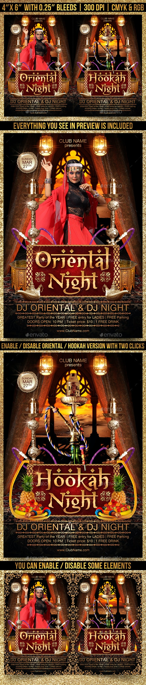 Oriental and Hookah Night Flyer - Clubs & Parties Events